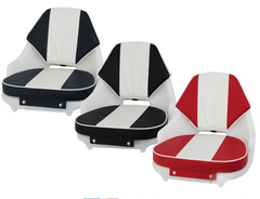 S04U 1500 Seat with SS01 Upholstery shown here with Navy/White, Black/White and Red/White